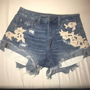 Floral embroidered AE shorts